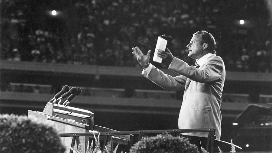 1955 Billy Graham Addressing Stadium Full of People - 900