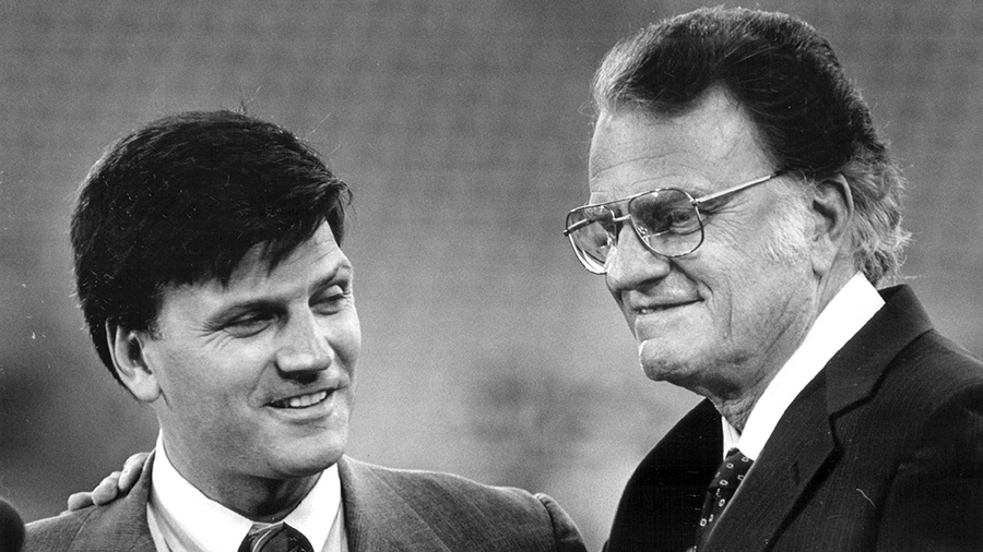 1987: Billy Graham introduced his son Franklin Graham Billy said that his son was the only member of his family that was on the board of the Crusade.