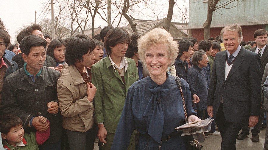 19 April 1988 HUAIYIN, CHINA: Billy Graham and his wife Ruth smile as they meet Chinese inhabitants of Ruth's birthplace in Huaiyin, Jiangsu province, China.