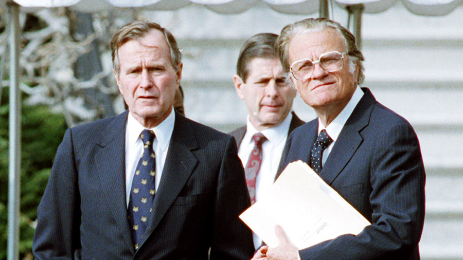 President George Bush Stands With Billy Graham January 19, 1991 At The White House Shortly After Graham Made A Speech In Washington, DC.