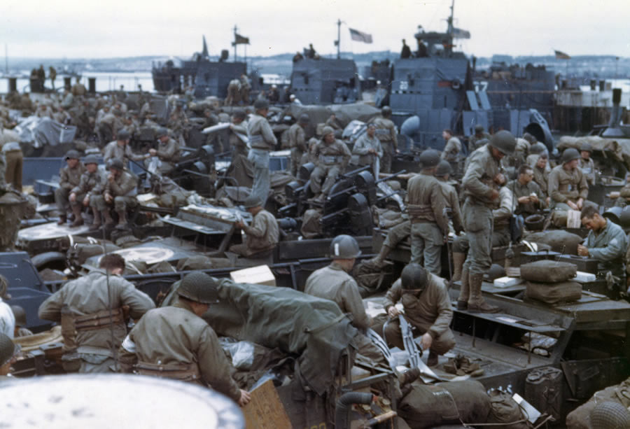 6/1944 — Original caption: Men and equipment are massed together in landing craft in preparation for the big assault on the European continent. England.