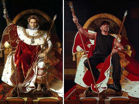 Left: Jean David. Napoleon I (1806). Right: Kehinde Wiley. Ice-T (2005).