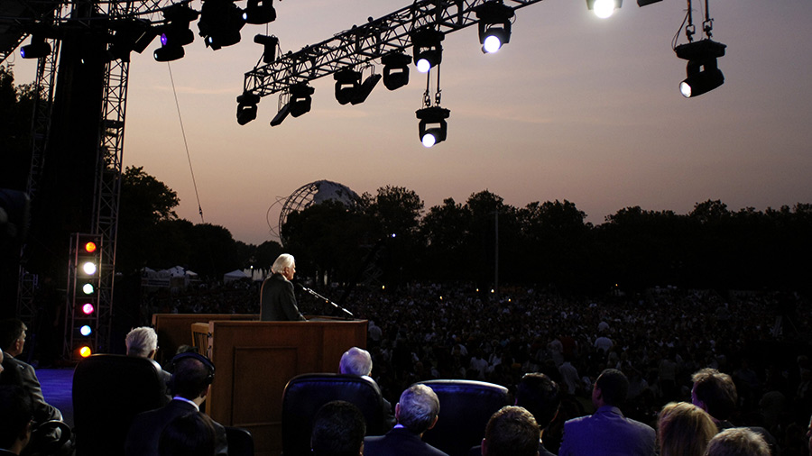 Billy Graham preaches during his New York Crusade at Flushing Meadows Park on June 24, 2005 in Queens, New York.