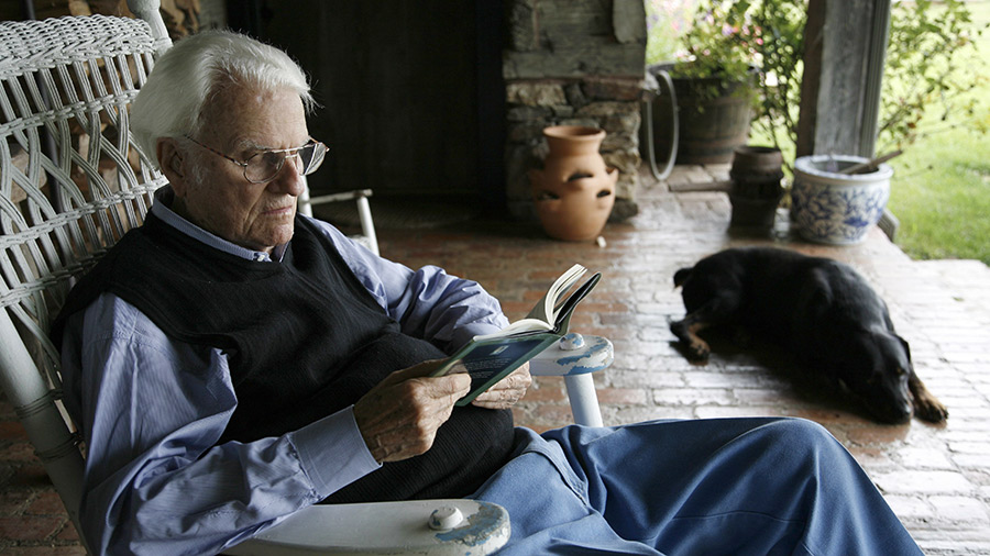 Billy Graham at his home in the mountains of Montreat, July 25, 2006 near Asheville, North Carolina. Billy and Ruth Graham see out their days reading, watching the latest news and playing with their dogs, Paula, China and Theo at the Little Piney Cove homestead, where the Blue Ridge meets the Black Mountain range east of Asheville.
