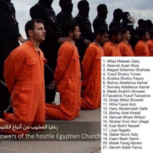 Faith J. Hooper McDonnell's temporary Facebook profile picture of Christians who were martyred by ISIS