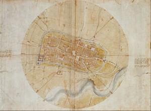 Leonardo da Vinci's very accurate map of Imola, created for Cesare Borgia