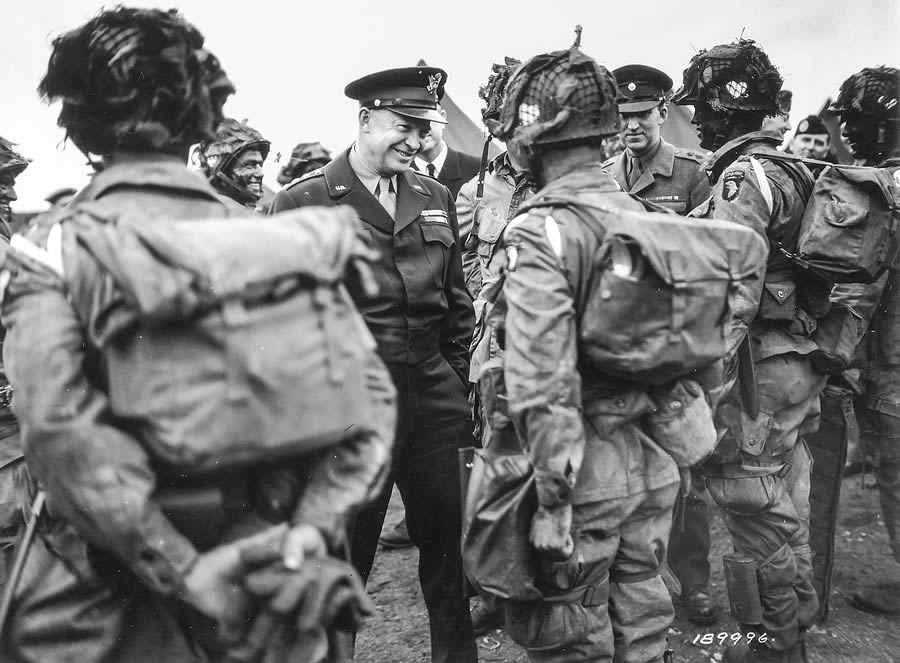 Original caption: June 6, 1944 — Gen. Dwight D. Eisenhower gives the order of the day,