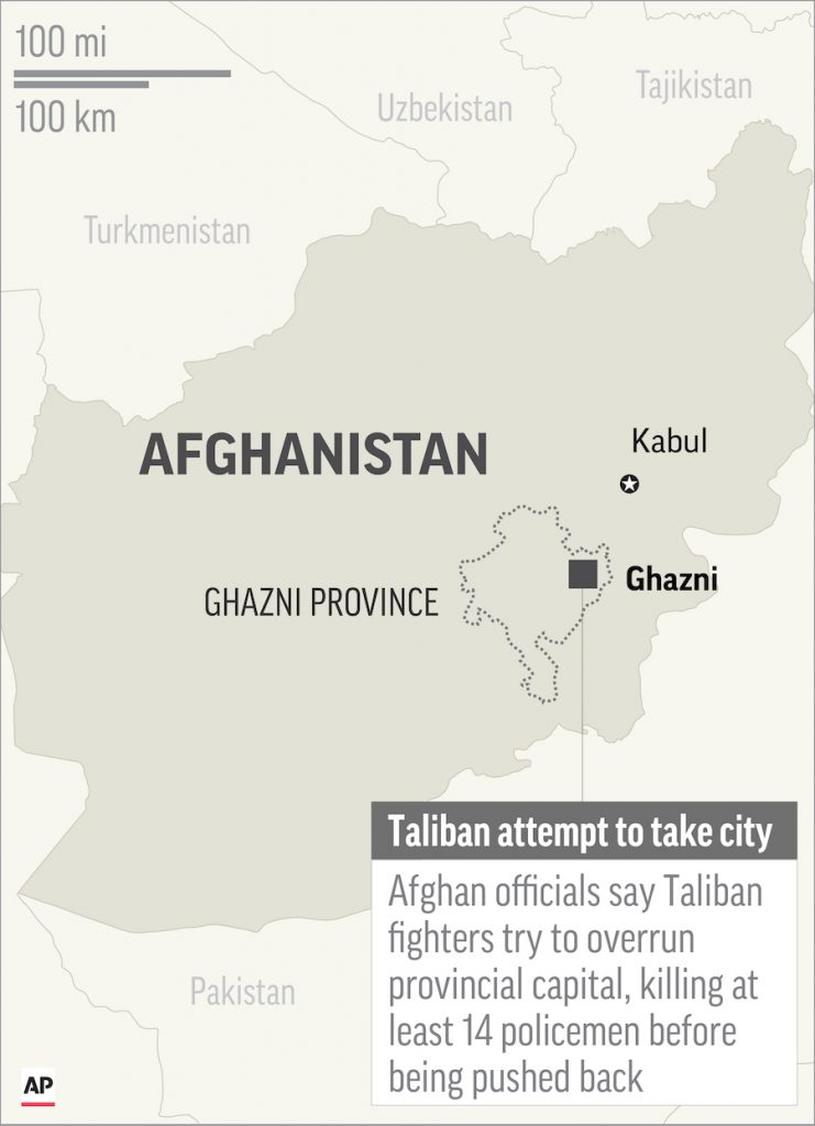 Map locates Ghazni in Afghanistan, where Taliban fighters tried to take city; 1c x 2 inches; 46.5 mm x 50 mm;