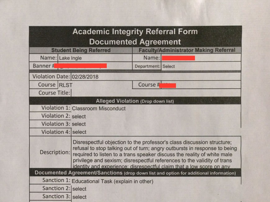 Academic Integrity Referral Form