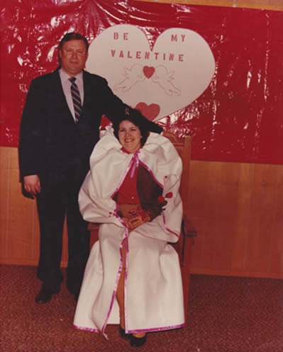 Charles and Alice Wright at a Valentine's Day banquet in Swan, Texas. Circa 1980.