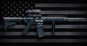 M4A1 Carbine with ACOG M150 optic commonly carried by US Military personnel, as well as US civilians in semi-auto configuration commonly known as the AR-15.  These were made by Colt Firearms and FN(Fabrique Nationale Herstal, FN America, FN Manufacturing).</body></html>