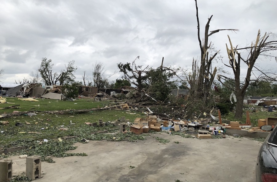 Back yards in Brookville after the tornadoes