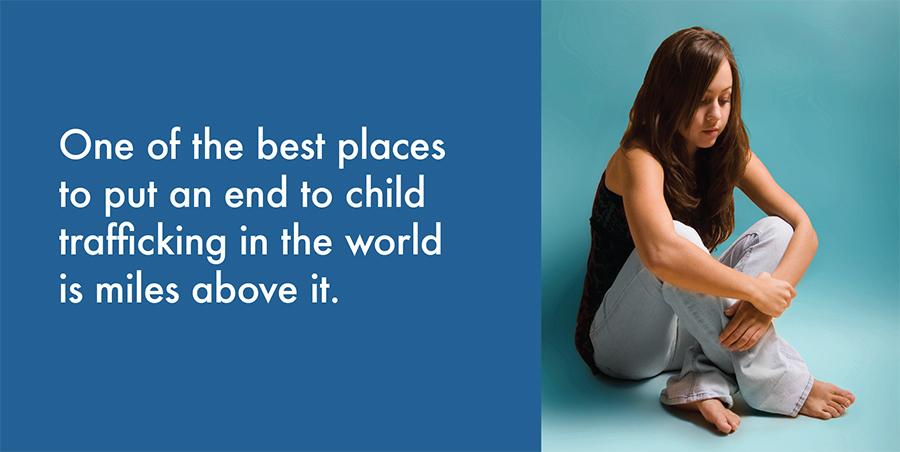 Basic Blue Brochure Girl Sitting Trafficking - 900