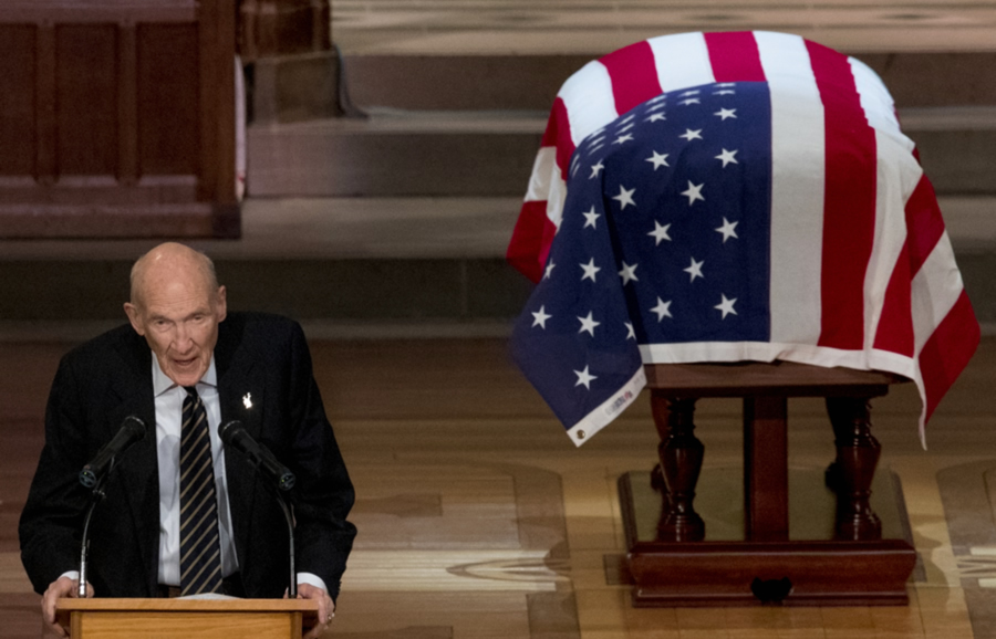 Former Sen. Alan Simpson, R-Wyo., speaks during the State Funeral for former President George H.W. Bush at the National Cathedral, Wednesday, Dec. 5, 2018, in Washington.