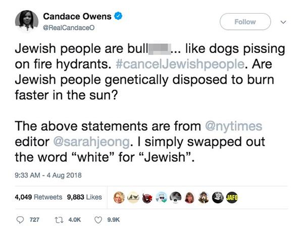 Candace Owens tweet Jewish NYTimes Editor Racism - 600