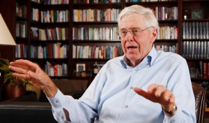 In this May 22, 2012 file photo, Charles Koch speaks in his office at Koch Industries in Wichita, Kansas. Billionaire industrialist and conservative benefactor Koch is hosting hundreds of the nation's most powerful political donors this weekend in Colorado. The exclusive gathering at the foot of the Rocky Mountains is open to donors who promise to give at least $100,000 each year to Koch-approved groups.