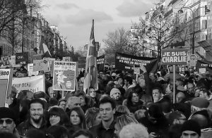 On January 11, 2015, nearly two million people including 40 world leaders gathered in Paris, France for a rally of national unity following the terrorist attack on Charlie Hebdo journalists.
