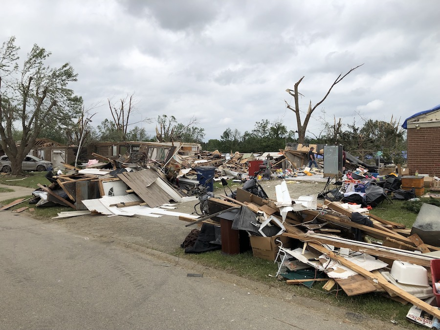 Completely demolished home after tornado