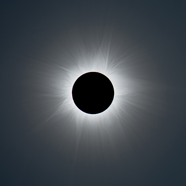 The total phase of the November 13, 2012, solar eclipse as seen from Australia. This is a composite of short, medium, and long exposures, as no single exposure can capture the huge range of brightness exhibited by the solar corona. No filter was used during the exposures, as totality is about as bright as the full Moon and just as safe to look at. At all other times, though, a safe solar filter is required to observe or photograph the Sun.