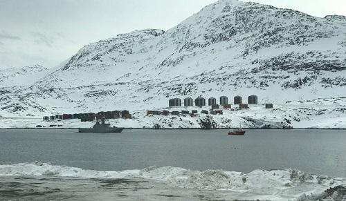 A Danish warship patrols Greenland's waters.