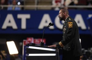 CLEVELAND, OH - JULY 18: Milwaukee County Sheriff David Clarke delivers a speech on the first day of the Republican National Convention on July 18, 2016 at the Quicken Loans Arena in Cleveland, Ohio. An estimated 50,000 people are expected in Cleveland, including hundreds of protesters and members of the media. The four-day Republican National Convention kicks off on July 18. (Photo by Jeff Swensen/Getty Images)