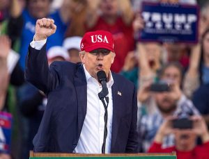 MOBILE, AL - DECEMBER 17:  President-elect Donald Trump speaks during a thank you rally in Ladd-Peebles Stadium on December 17, 2016 in Mobile, Alabama.   President-elect Trump has been visiting several states that he won, to thank people for their support during the U.S. election.   (Photo by Mark Wallheiser/Getty Images)