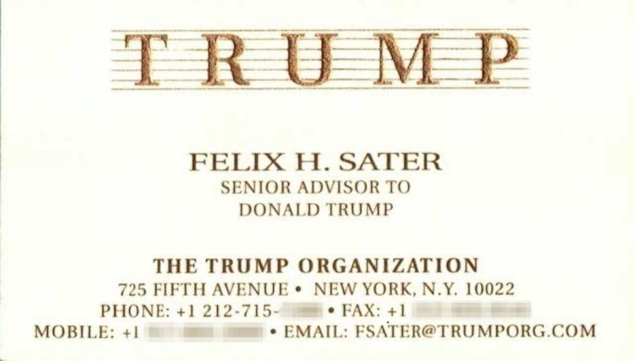 Felix H Slater Business Card Trump 900 The Stream
