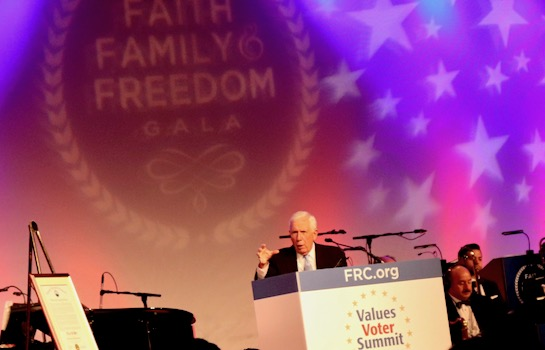 Congressman Frank Wolf concluded Values Voter Summit with a rousing speech on religious freedom. He received the Family Research Council Leadership Award for his decades of public service.