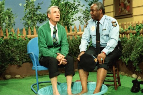 Fred Rogers (left) with François Clemmons (right) appear in his show Mister Rogers' Neighborhood, as seen in the film Won't You Be My Neighbor?