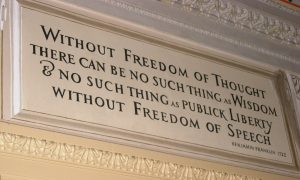 This quote by Benjamin Franklin is inscribed in the Great Experiment Hall in the U.S. Capitol in Washington D.C.