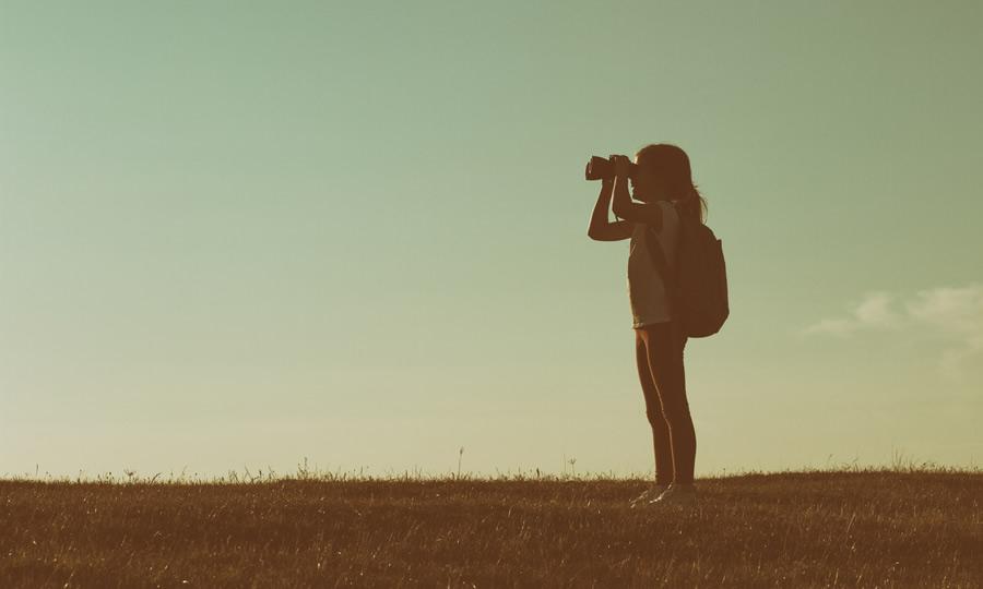 Girl With Binoculars, Little Hiker, Kid Exploring, Wonder, God's Creation, Adventure