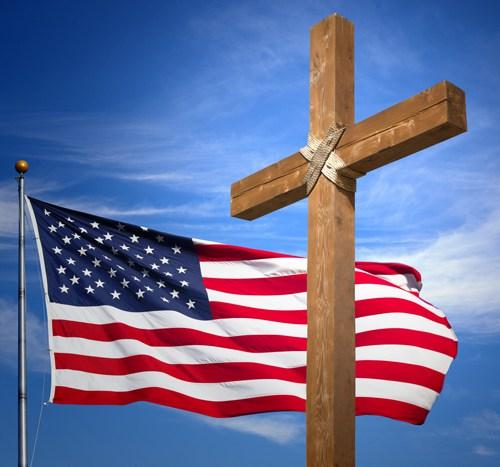 God over Country Cross US Flag Jesus - 900