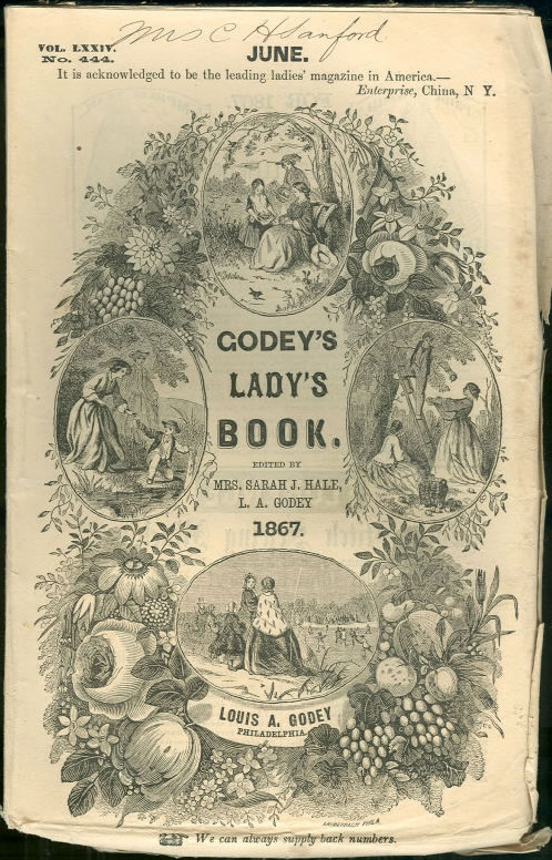The magazine cover of the June 1867 edition of Godey's Lady's Book.