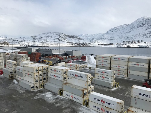 The container port at Sikuki Nuuk Harbor in Greenland.