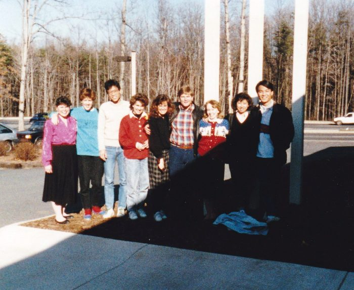 The author with the team from Hang Fook Camp, Hong Kong, at Church of the Apostles, 1988.