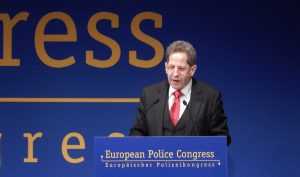 Hans-Georg Maassen, President of the Federal Office for Protection of the Constitution (BfV) of Germany, the country's intelligence agency, gives a speech during the 20th European Police Congress in Berlin on Feb. 22, 2017.