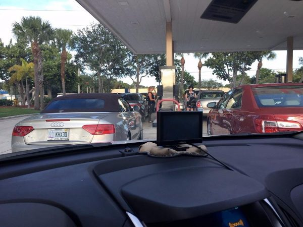 Waiting in line for gas in Delray Beach, Florida, on September 4, 2017.
