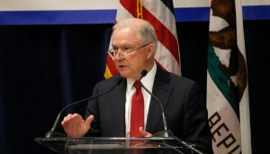 In this March 7, 2018, file photo, Attorney General Jeff Sessions speaks at the California Peace Officers' Association's 26th Annual Law Enforcement Legislative Day in Sacramento, Calif.
