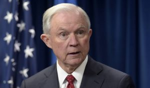 In this March 6, 2017, file photo, Attorney General Jeff Sessions makes a statement on issues related to visas and travel at the U.S. Customs and Border Protection office in Washington.