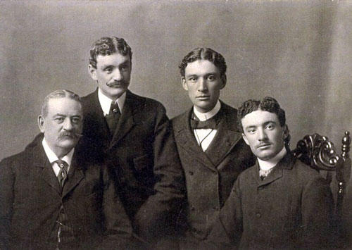 Beverly Jefferson, the grandson of Sally Hemings and (almost definitely) Thomas Jefferson, along with his three sons. (And doesn't that guy on the right look like Jefferson's portraits?)