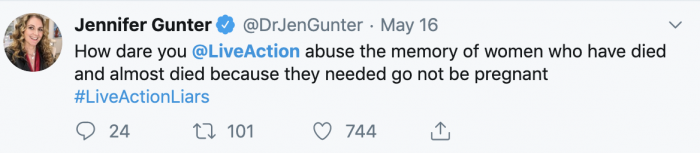 Screenshot of Jennifer Gunter tweet