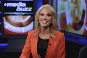 "White House counselor Kellyanne Conway is interviewed by Howard Kurtz during a taping of his ""MediaBuzz"" program on the Fox News Channel in New York, Friday, March 10, 2017. (AP Photo/Richard Drew)"