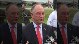 Louisiana Governor John Bel Edwards speaking to the media in Lafayette, Louisiana, on August 3, 2016