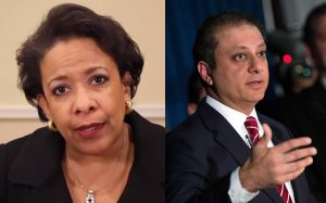 Left, Loretta Lynch speaks in a video posted to the Senate Democrats' Facebook page. Right, Preet Bharara, then-U.S. Attorney for the Southern District of New York, speaks during a press conference on June 8, 2016.