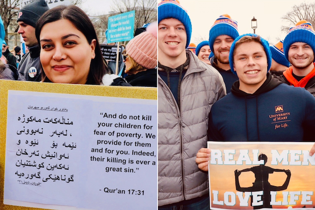 A diversity of pro-life signs were on display at March for Life 2019, including from Washan Sabunshy (left) of Minneola, Fla. and a group of young men from University of Mary in North Dakota.