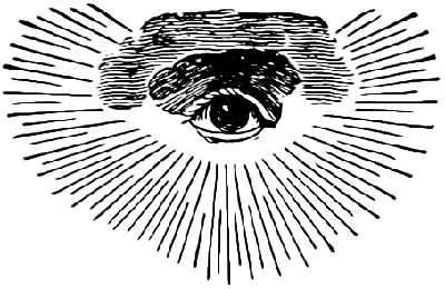 An early Masonic version of the Eye of Providence (All-Seeing Eye) with clouds and a semi-circular glory. Wikimedia Commons