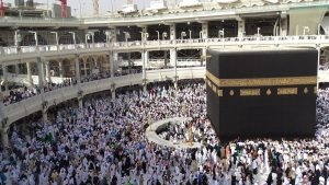 The Kaaba, a cubic building in the Grand Mosque in Mecca, Saudi Arabia is the most sacred site in Islam.