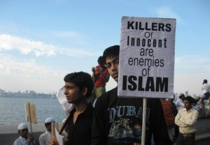 In this Dec. 7, 2008, file photo, muslims protest the terror attacks on Mumbai, India.