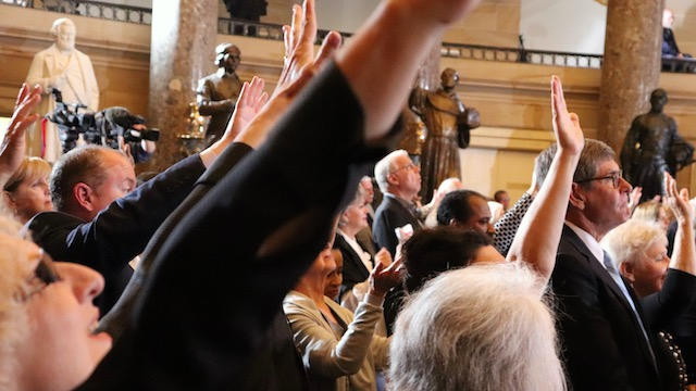 On May 2, 2019, a group of 250 clergy and ministry leaders worshipped during the National Day of Prayer observance in Statuary Hall at the U.S. Capitol in Washington, D.C.