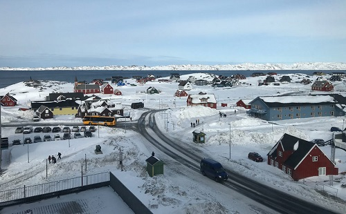 Downtown Nuuk, the largest and capital city of Greenland.